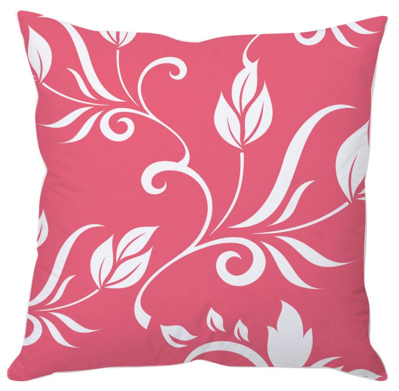Buy White Leaves On Pink Cushion Cover online
