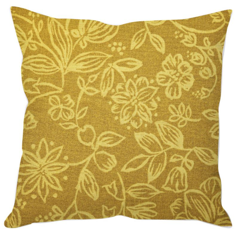 Buy Golden Floral Art Cushion Cover online