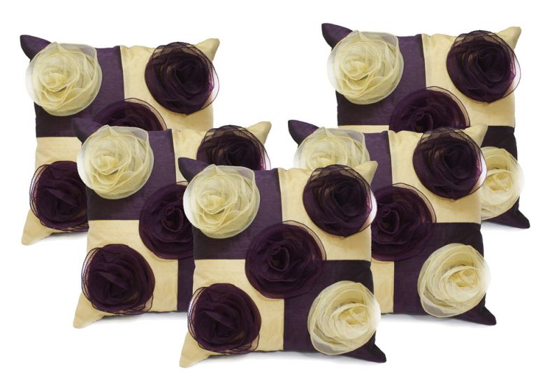 Buy Stybuzz Purple Embroidered Cushion Covers - Set Of 5 online