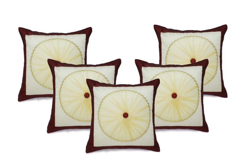 Buy Stybuzz Brown Embroidered Cushion Covers - Set Of 5 online
