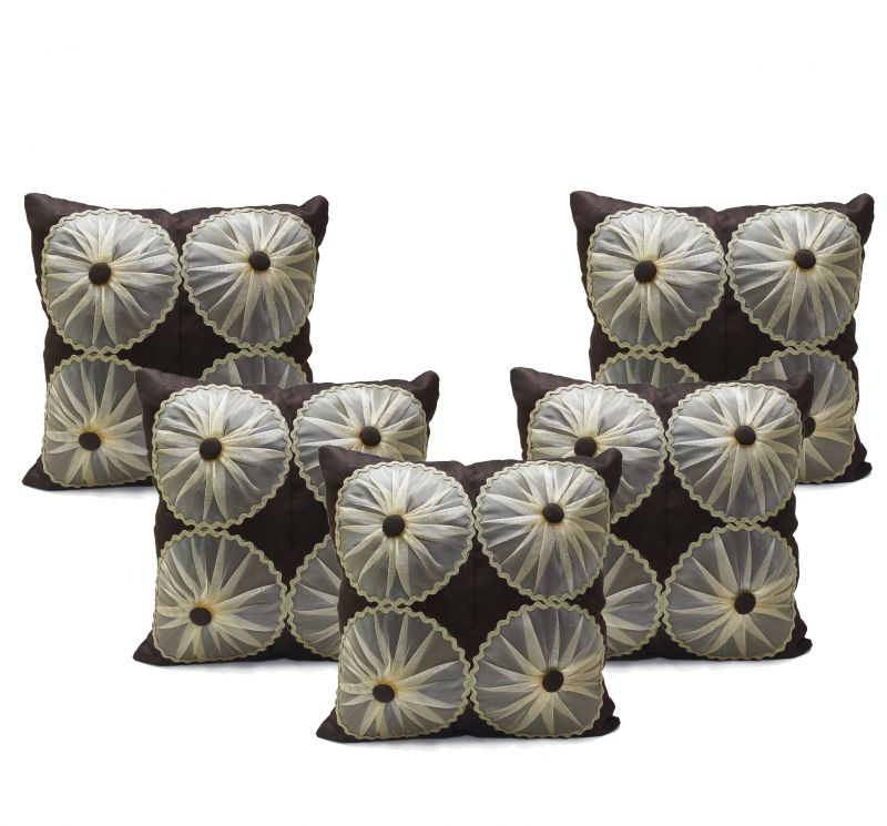Buy Stybuzz Rust Embroidered Cushion Covers - Set Of 5 online