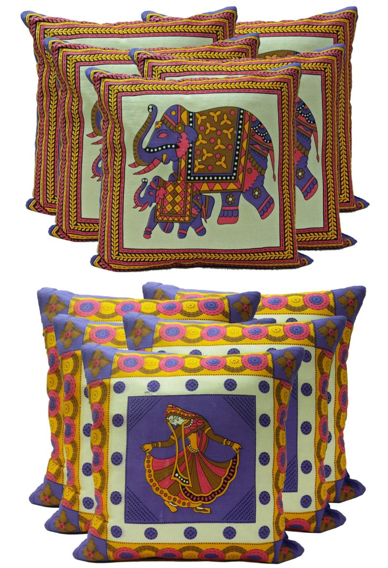 Buy Stybuzz Ethenic Cotton Cushion Cover Set Of 10 - Scten00039 online