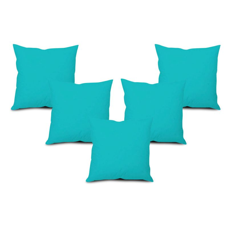 Buy Stybuzz Blue Solid Cushion Cover - Set of 5 online
