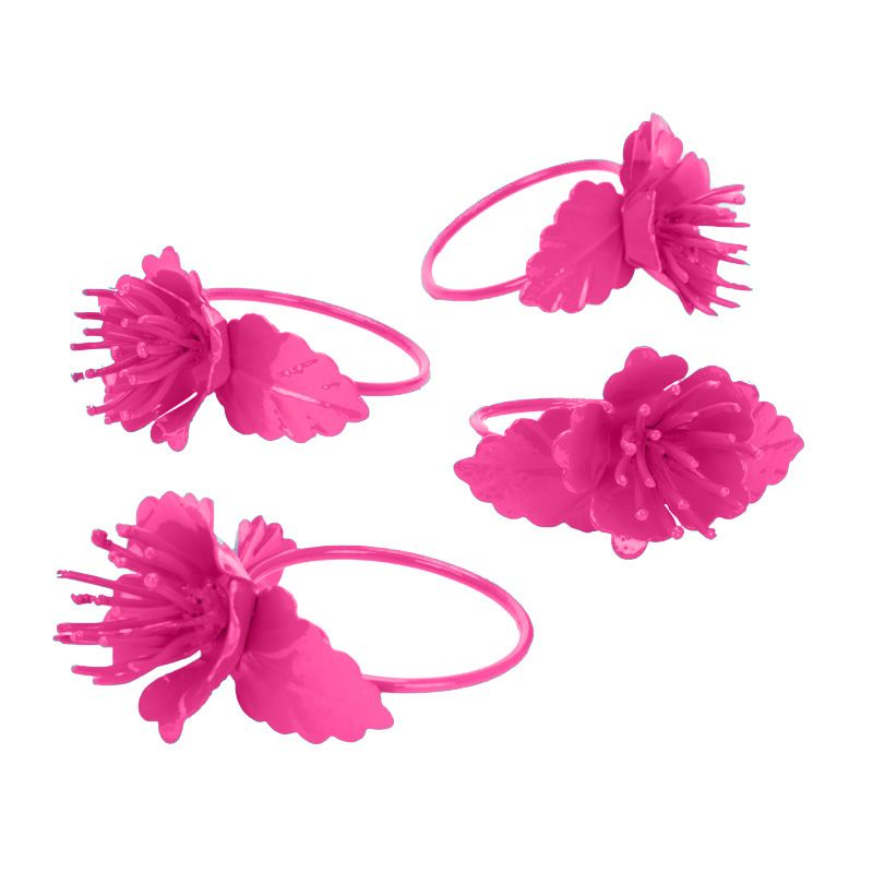 Buy Fabulloso Pink Colour Blooming Napkin Ring Set online
