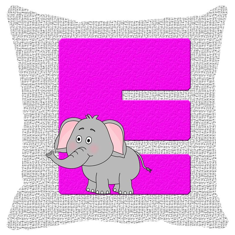 Buy Fabulloso Leaf Designs Alphabet Cushion Cover E - 8x8 Inches online