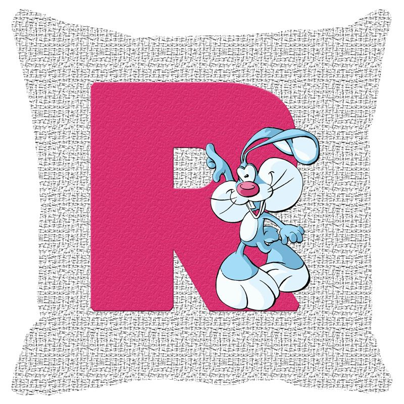 Buy Fabulloso Leaf Designs Alphabet Cushion Cover R - 18x18 Inches online