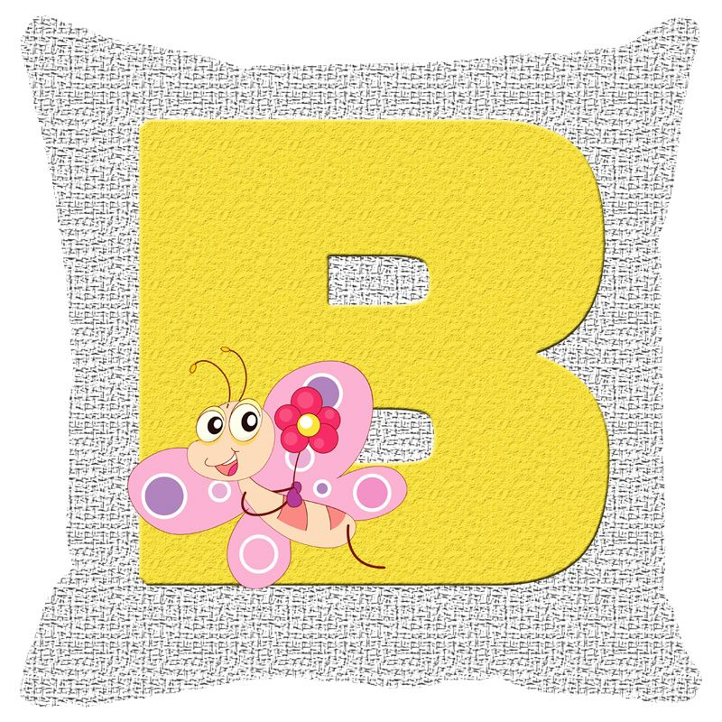 Buy Fabulloso Leaf Designs Alphabet Cushion Cover B - 8x8 Inches online
