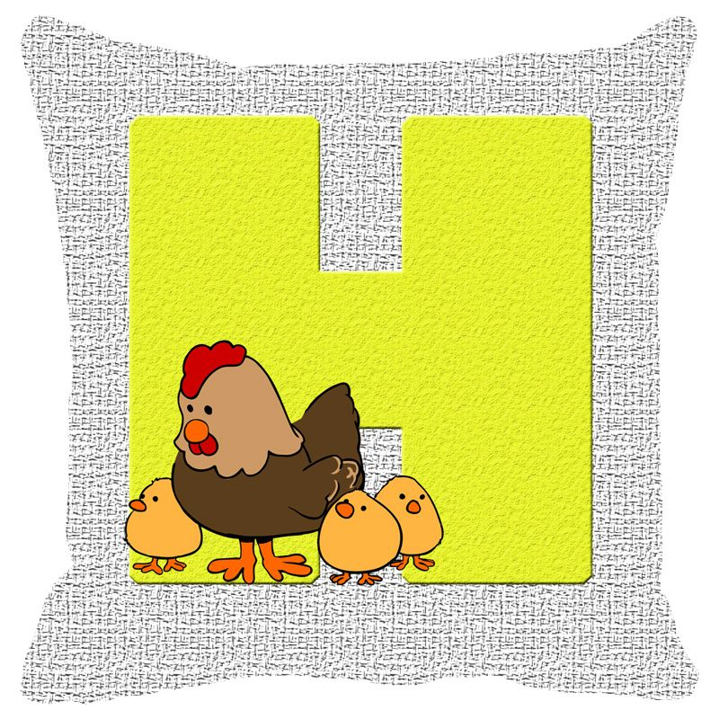 Buy Fabulloso Leaf Designs Alphabet Cushion Cover H - 12x12 Inches online