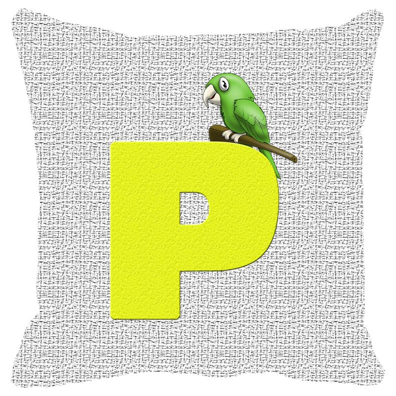 Buy Fabulloso Leaf Designs Alphabet Cushion Cover P - 18x18 Inches online