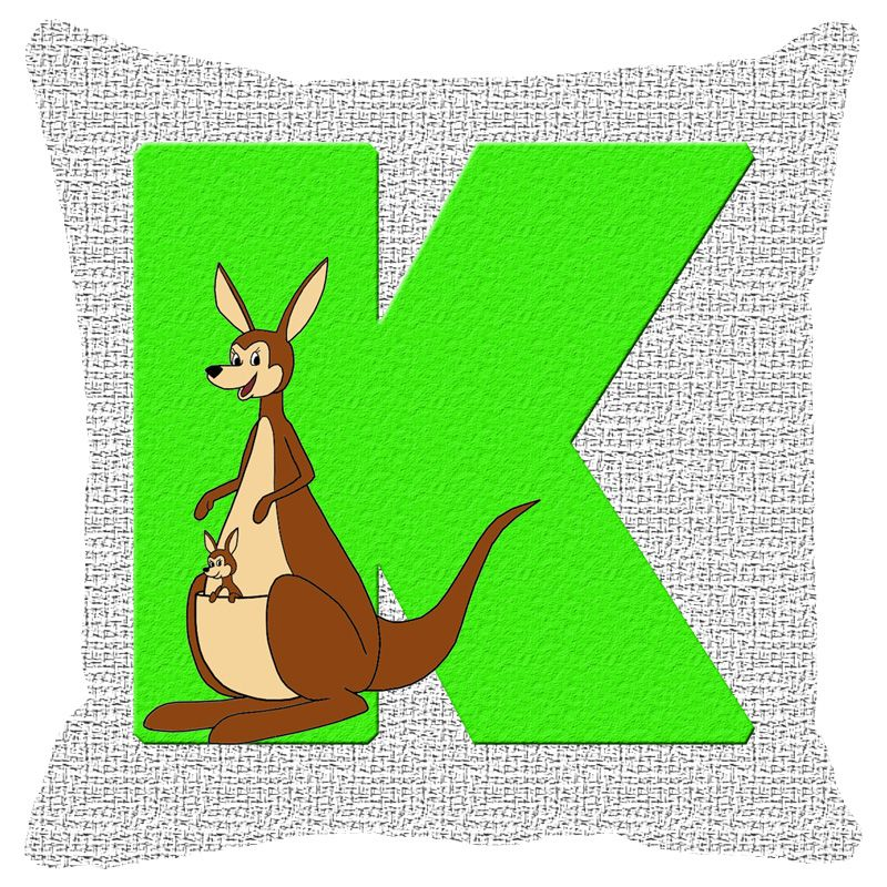 Buy Fabulloso Leaf Designs Alphabet Cushion Cover K - 12x12 Inches online