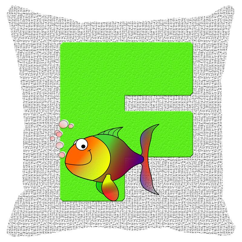 Buy Fabulloso Leaf Designs Alphabet Cushion Cover F - 18x18 Inches online