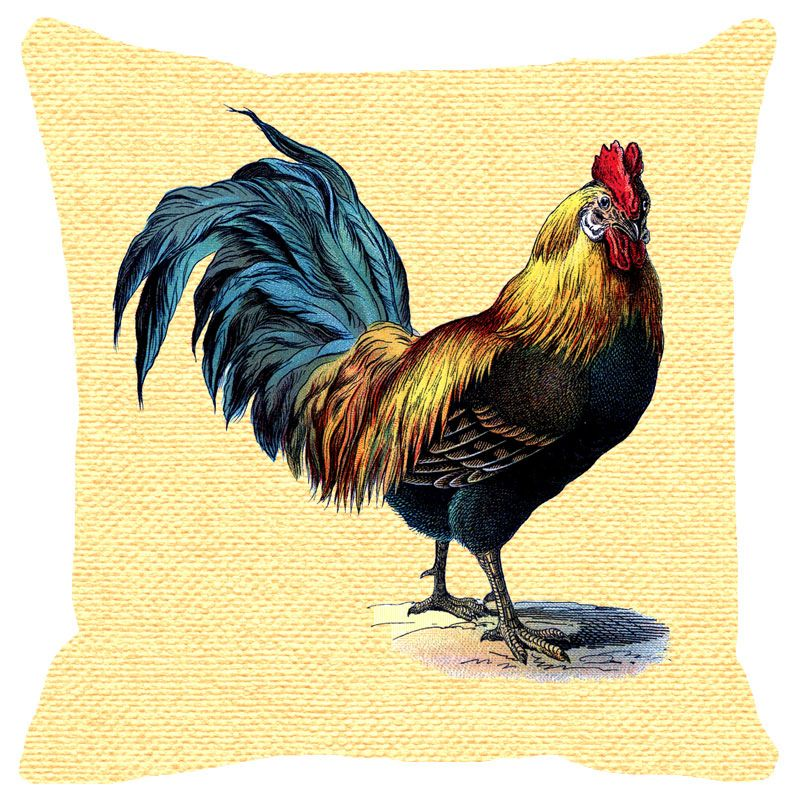buy fabulloso leaf designs yellow rooster cushion cover