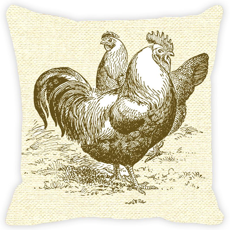 Buy Fabulloso Leaf Designs Monotone Rooster Cushion Cover - 12x12 Inches online