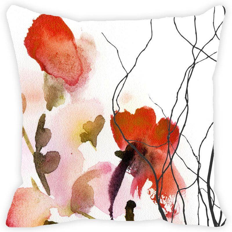 Buy Fabulloso Leaf Designs Red Watercolour Floral Cushion Cover - 8x8 Inches online