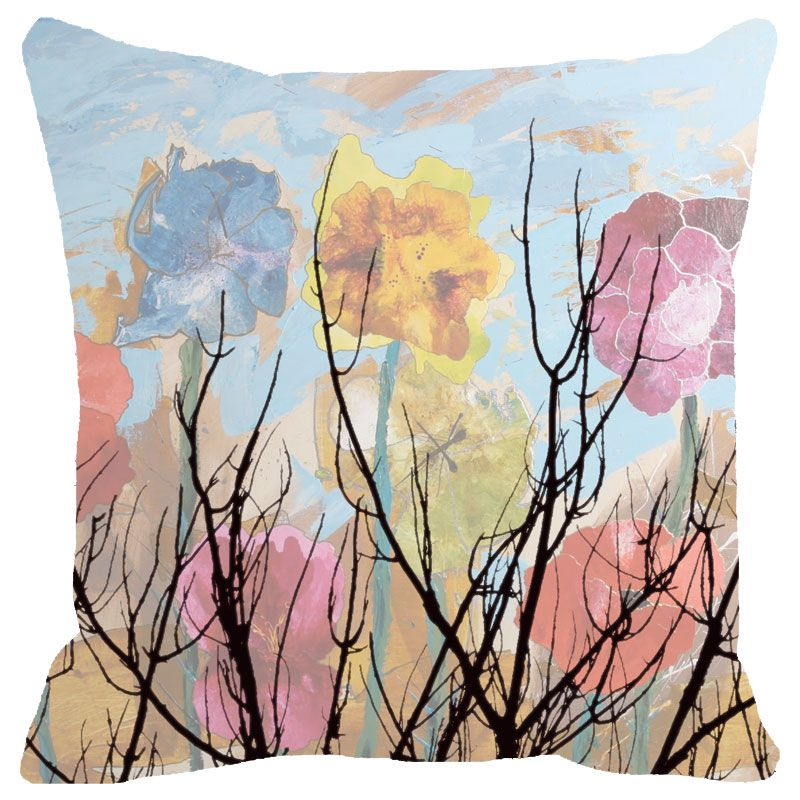 Buy Fabulloso Leaf Designs Multicoloured Cloudy Floral Cushion Cover - 12x12 Inches online