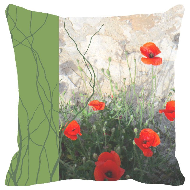 Buy Fabulloso Leaf Designs Green Band Floral Cushion Cover - 16x16 Inches online