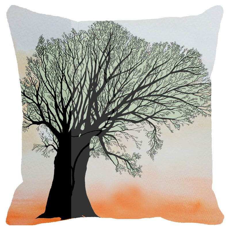 Buy Fabulloso Leaf Designs Tree Cushion Cover - 18x18 Inches online