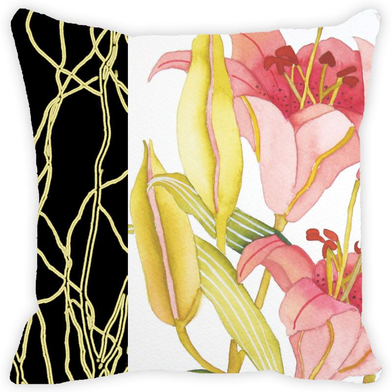 Buy Fabulloso Leaf Designs Black Band And Multicoloured Floral Cushion Cover - 16x16 Inches online
