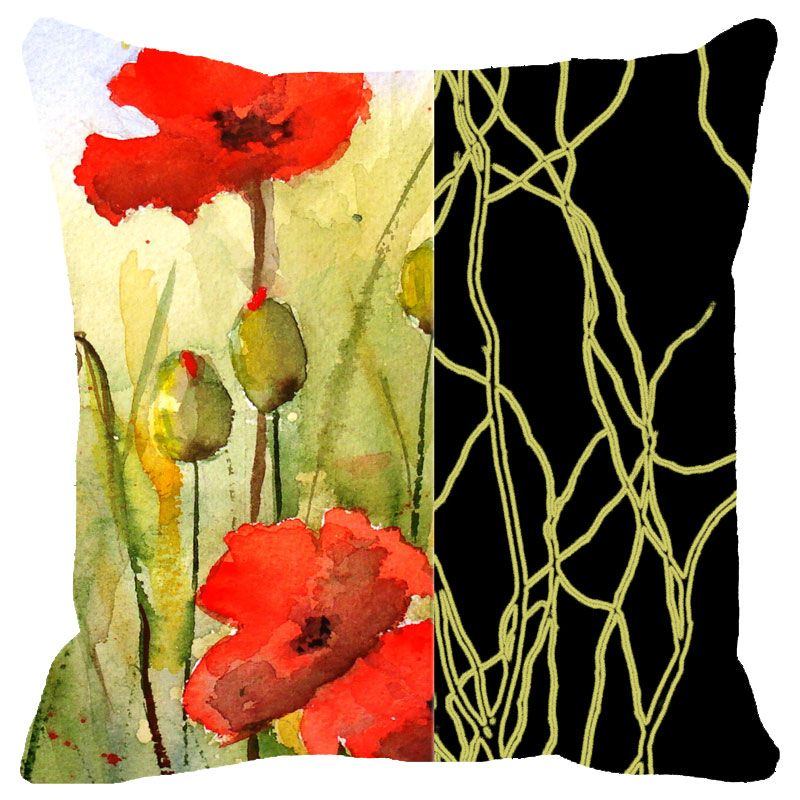 Buy Fabulloso Leaf Designs Black Band And Red Floral Cushion Cover - 8x8 Inches online