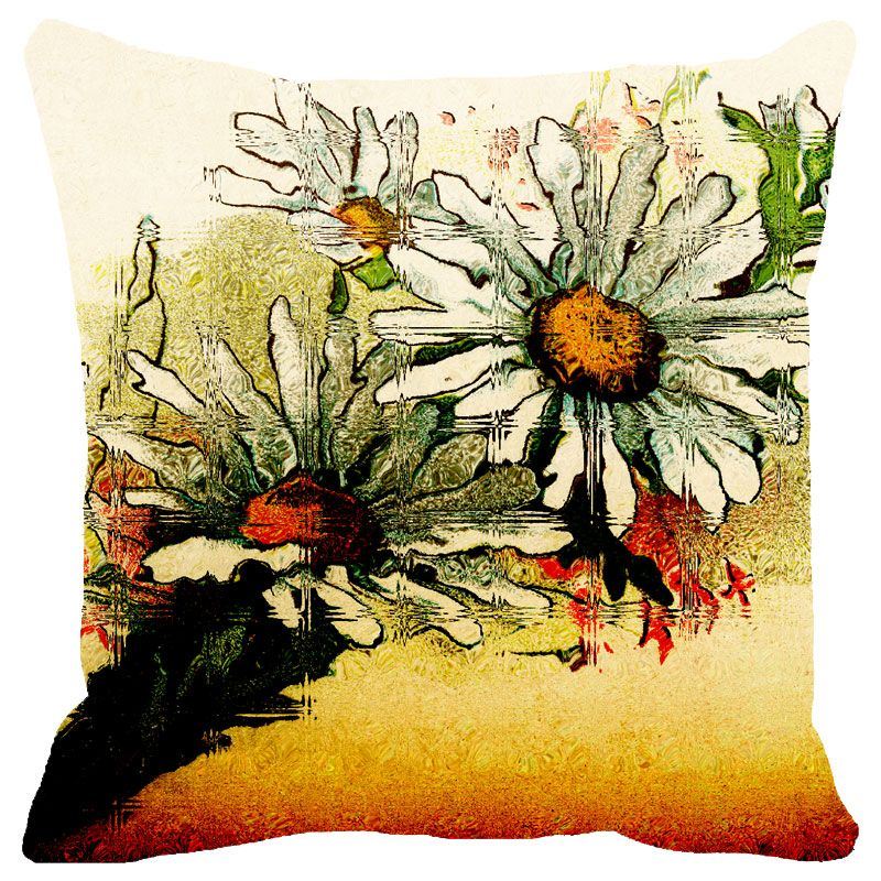 Buy Fabulloso Leaf Designs Sunset Multicoloured Floral Cushion Cover - 16x16 Inches online