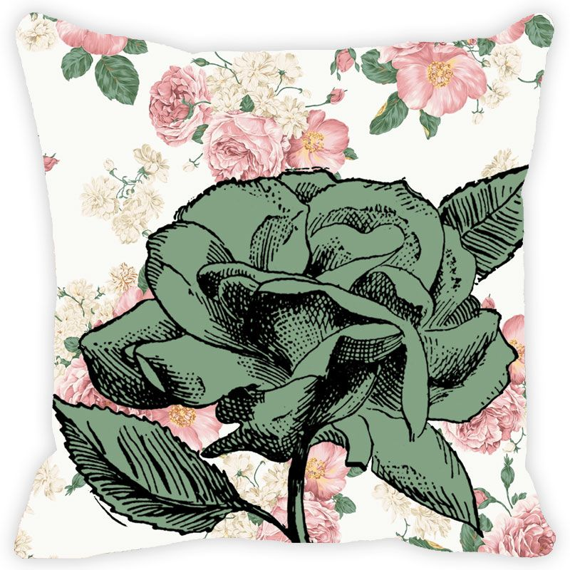 Buy Fabulloso Leaf Designs Vintage Green Rose Cushion Cover - 12x12 Inches online