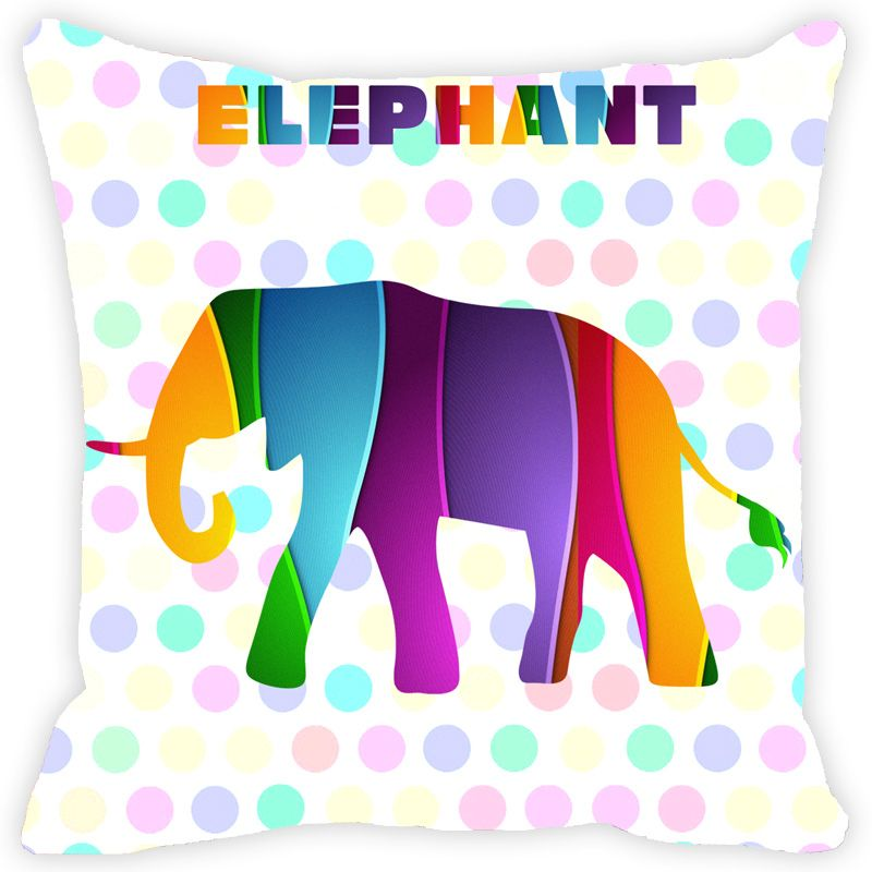 Buy Fabulloso Leaf Designs Multicoloured Elephant Cushion Cover - 18x18 Inches online