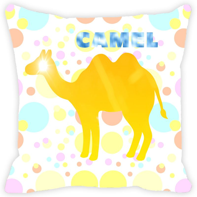 Buy Fabulloso Leaf Designs Yellow Geometric Camel Cushion Cover - 18x18 Inches online