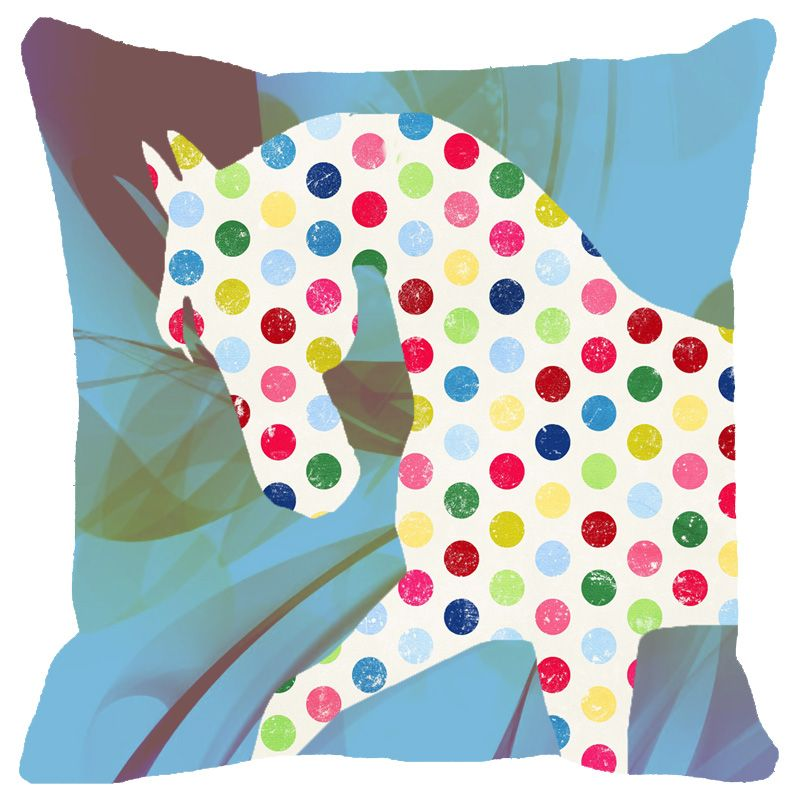 Buy Fabulloso Leaf Designs Multicoloured Dotted Horse Cushion Cover - 12x12 Inches online