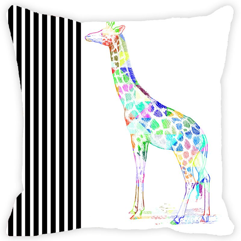 Buy Fabulloso Leaf Designs Black And White Stripes Giraffe Cushion Cover - 16x16 Inches online