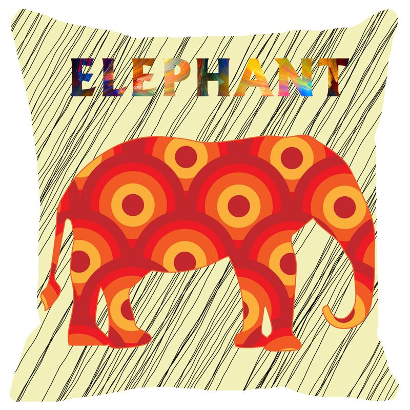 Buy Fabulloso Leaf Designs Red Elephant Cushion Cover - 18x18 Inches online