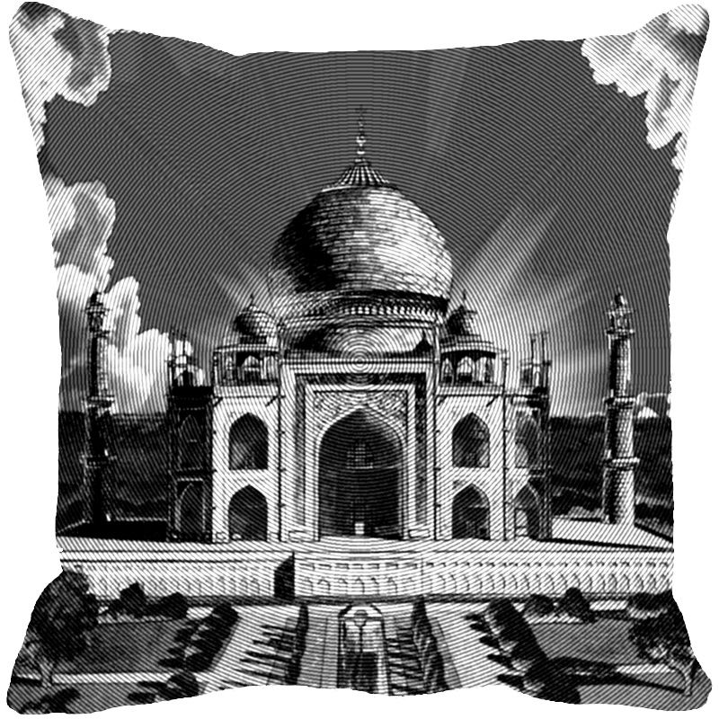 Buy Fabulloso Leaf Designs Taj Mahal Grey Cushion Cover - 16x16 Inches online