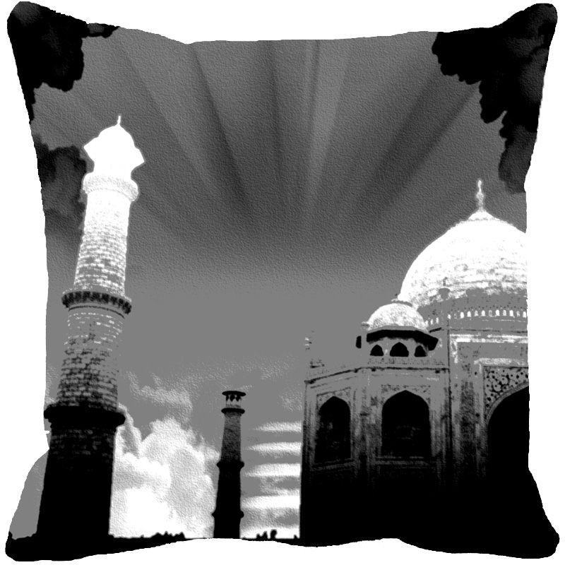 Buy Fabulloso Leaf Designs Taj Mahal Black & White Cushion Cover - 12x12 Inches online