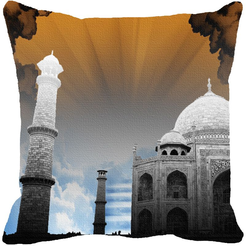 Buy Fabulloso Leaf Designs Taj Mahal Brown Cushion Cover - 16x16 Inches online