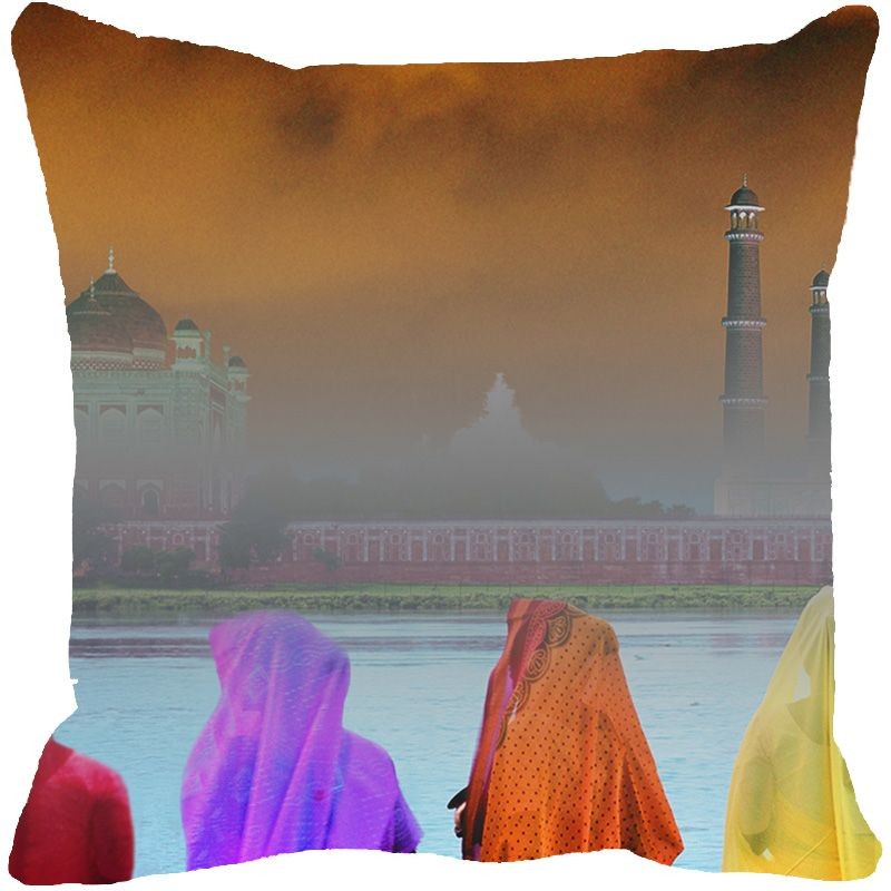 Buy Fabulloso Leaf Designs Taj Mahal River View Multi Colored Cushion Cover - 16x16 Inches online