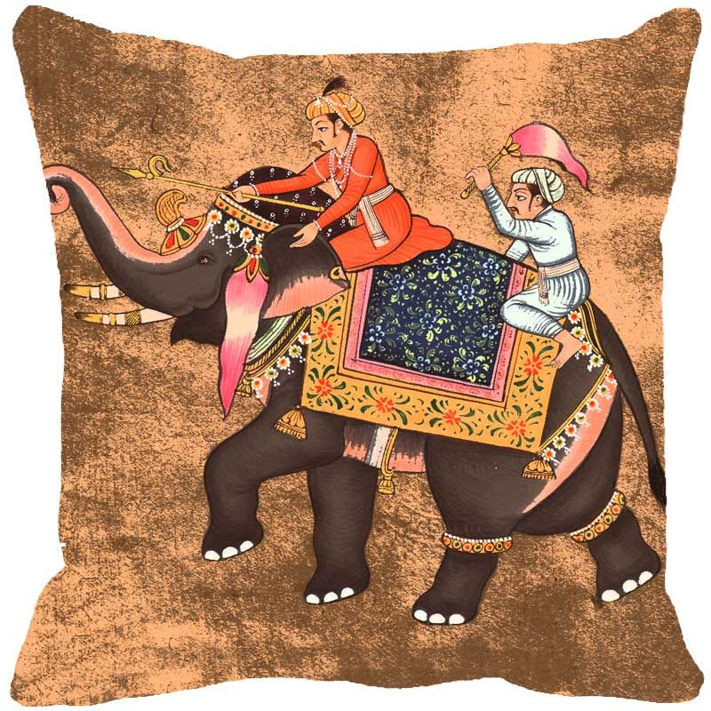 Buy Fabulloso Leaf Designs Miniature Elephant Beige Cushion Cover - 12x12 Inches online