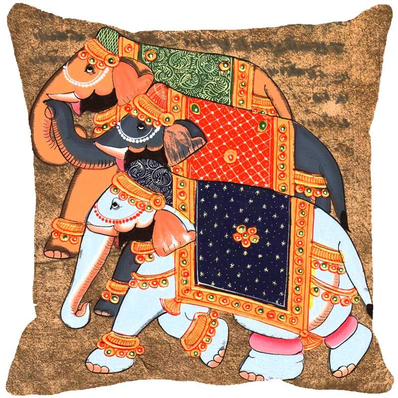 Buy Fabulloso Leaf Designs Miniature Elephant Multi Colored Cushion Cover - 18x18 Inches online