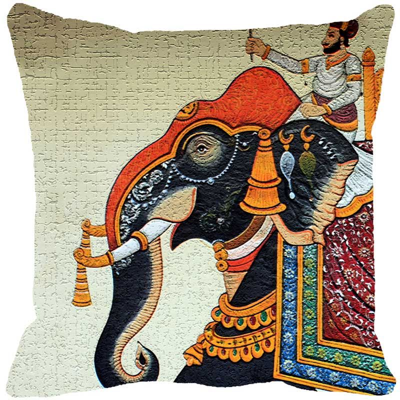 Buy Fabulloso Leaf Designs Miniature Elephant Fawn Cushion Cover - 8x8 Inches online