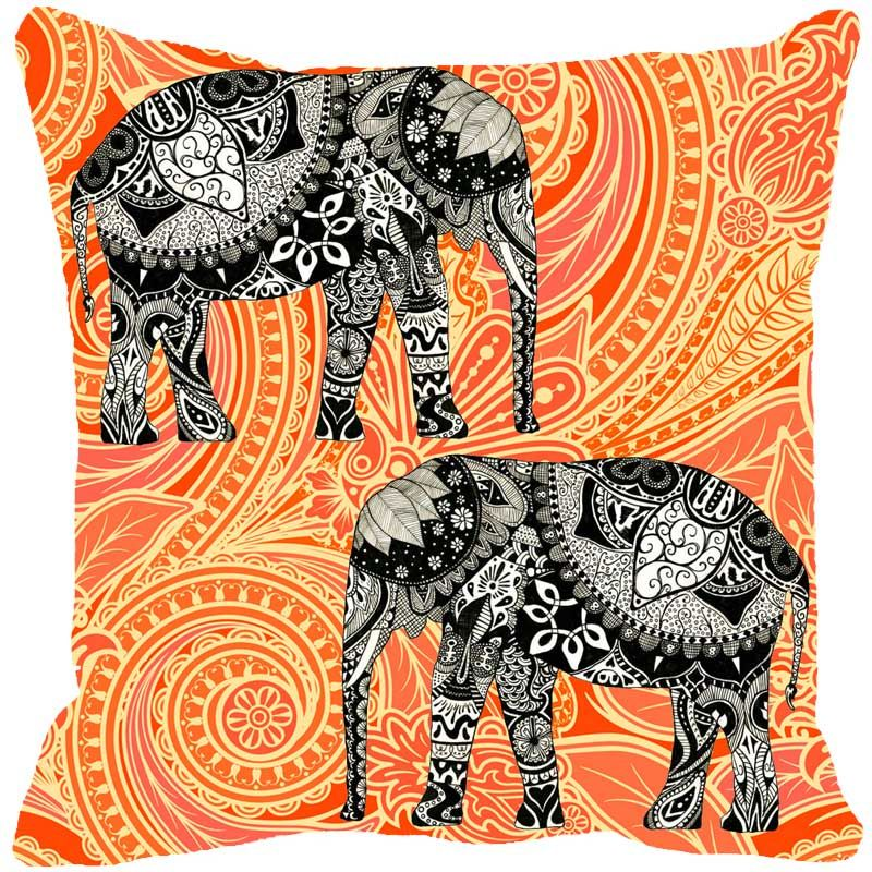 Buy Fabulloso Leaf Designs Elephant Graphics Orange Cushion Cover - 16x16 Inches online