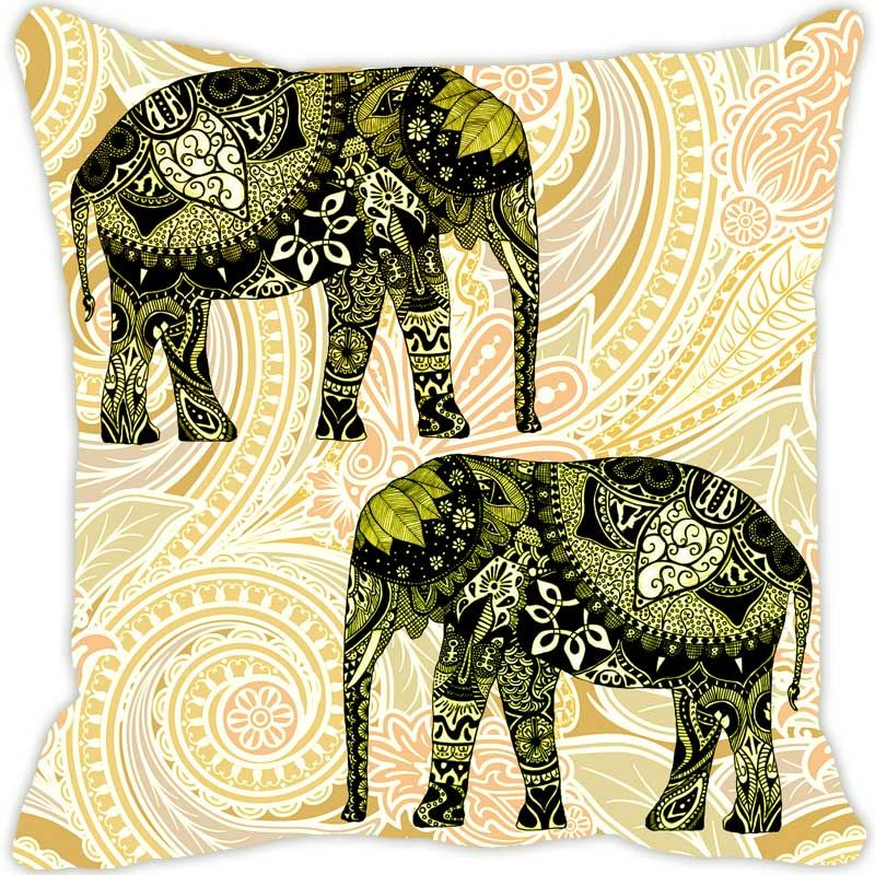 Buy Fabulloso Leaf Designs Elephant Graphics Green Cushion Cover - 18x18 Inches online