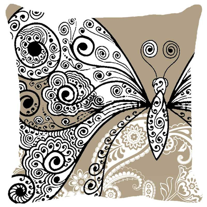 Buy Fabulloso Leaf Designs Butterfly Beige Cushion Cover - 8x8 Inches online