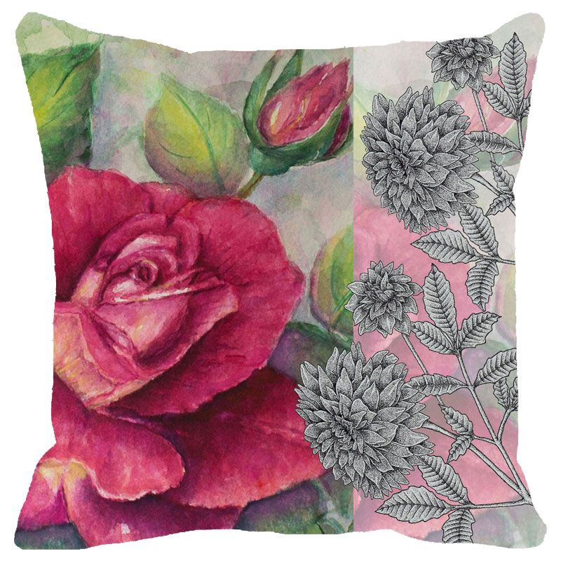 Buy Fabulloso Leaf Designs Antique Rose Cushion Cover - 18x18 Inches online