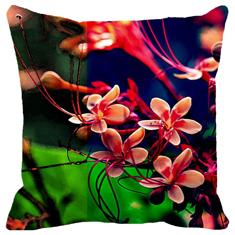 Buy Fabulloso Leaf Designs Multicoloured Frangipani Cushion Cover - 12x12 Inches online