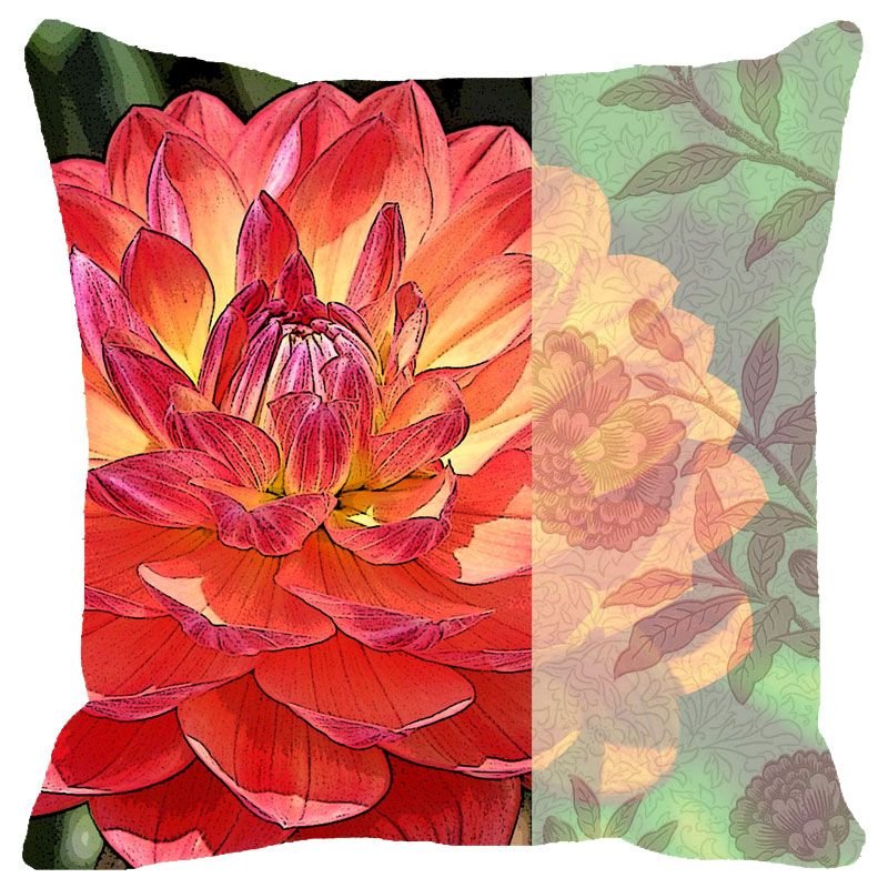 Buy Fabulloso Leaf Designs Dahlia Cushion Cover - 8x8 Inches online