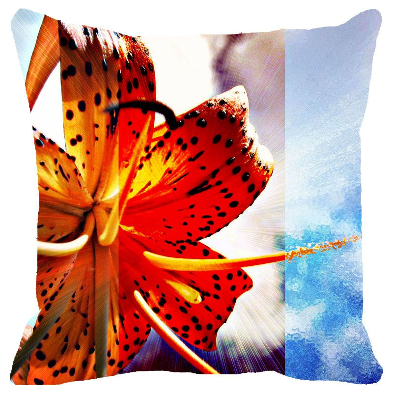 Buy Fabulloso Leaf Designs Hibiscus Cushion Cover - 18x18 Inches online