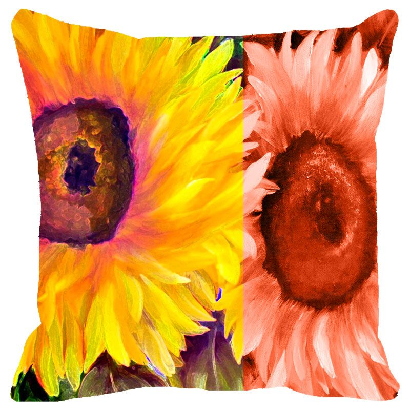 Buy Fabulloso Leaf Designs Yellow & Orange Floral Cushion Cover - 16x16 Inches online
