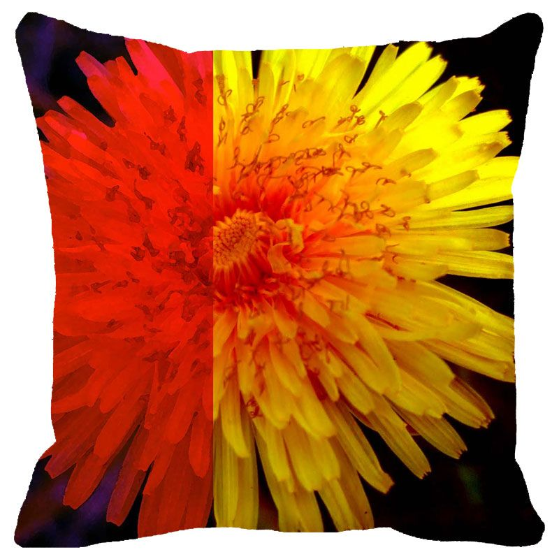 Buy Fabulloso Leaf Designs Orange & Yellow Floral Cushion Cover - 18x18 Inches online