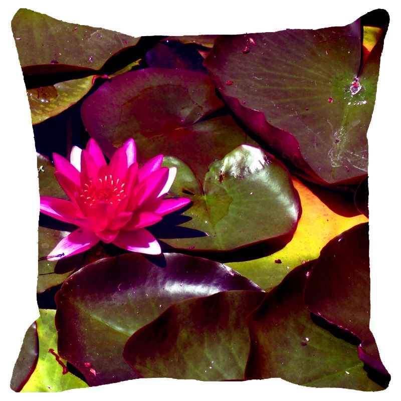 Buy Fabulloso Leaf Designs Fuchsia Lotus With Leaves Cushion Cover - 12x12 Inches online