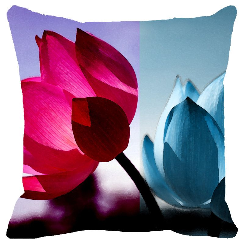 Buy Fabulloso Leaf Designs Fuchsia & Blue Shaded Lotus Cushion Cover - 16x16 Inches online
