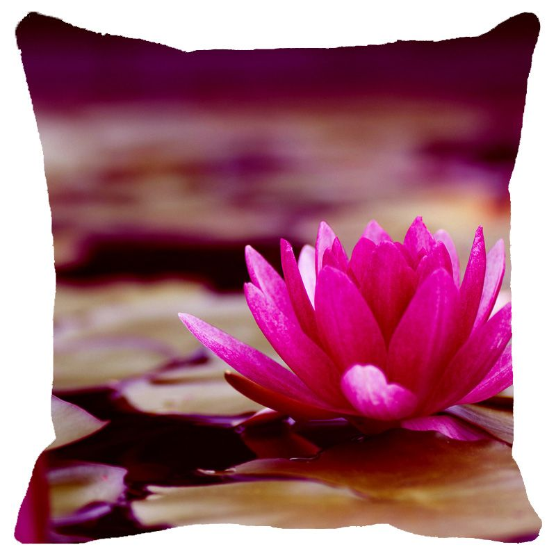 Buy Fabulloso Leaf Designs Pink & Sepia Shaded Lotus Cushion Cover - 16x16 Inches online