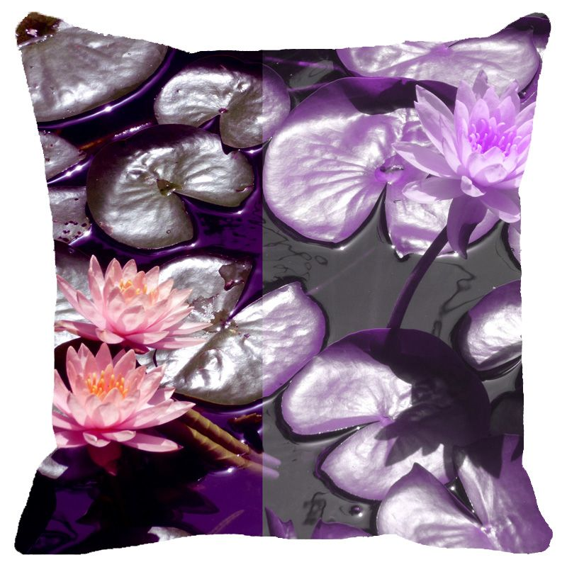 Buy Fabulloso Leaf Designs Purple Lotus Cushion Cover - 12x12 Inches online